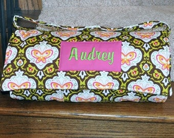 Nap Mat - Monogrammed Oops a Daisy in Brown Nap Mat with Hot Pink Double-sided Minky or Minky Dot Blanket