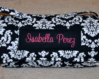 Nap Mat - NEW Monogrammed Black and White Damask Nap Mat with Hot Pink Double-sided Minky or Minky Dot Blanket