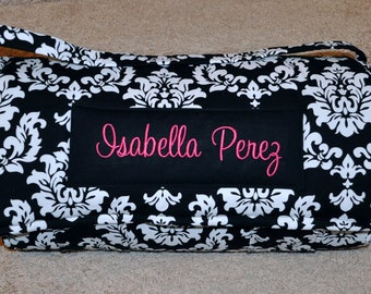 Nap Mat - Monogrammed Black and White Damask Nap Mat with a Hot Pink Minky Dot Blanket