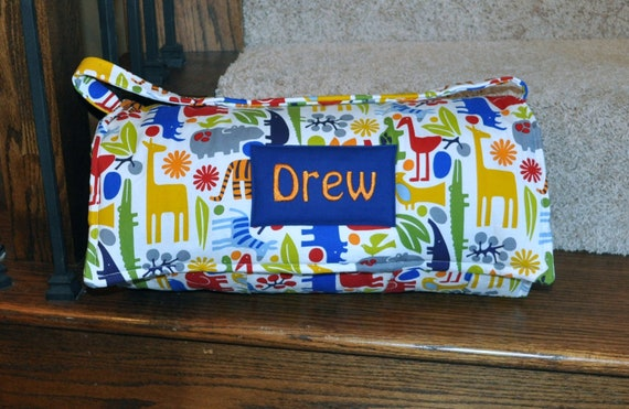 Nap Mat - Monogrammed 2D Zoo in Primary Nap Mat with Navy Double-sided Minky or Minky Dot Blanket