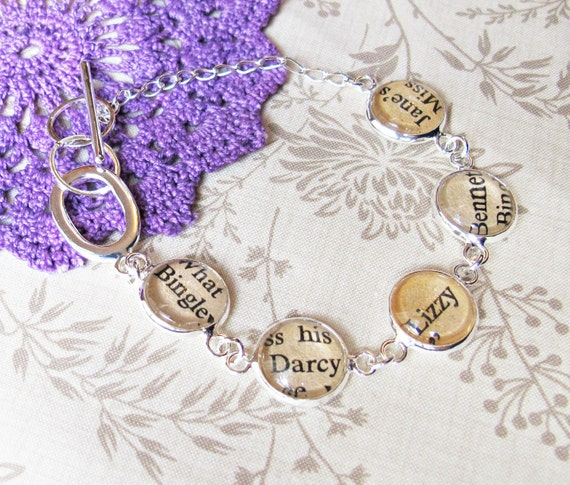 image two cheeky monkeys literature bracelet text typography pride and prejucide jane austen mr darcy elizabeth bennet Jane Mr Bingley