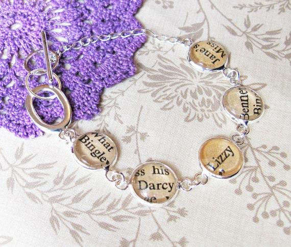 image two cheeky monkeys literature bracelet text typography pride and prejucide jane austen mr darcy elizabeth bennet Jane Mr Bingley