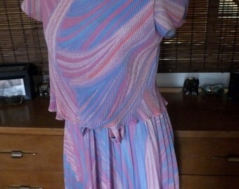Vintage 70s/80s Pastel Sherbert Swirl Feather Pleated Disco Dress M/L