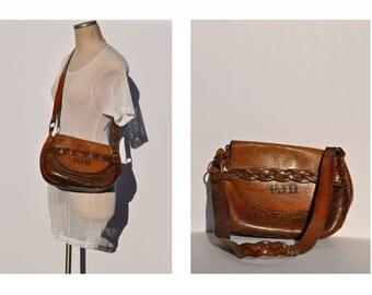vintage leather purse shoulder bag hippie boho tooled leather