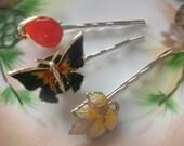 Vintage Earring Hair Pins, Butterfly Pin, Heirloom Jeweled Bridal Hair Pins, Bobby Pins, Fall Wedding, Boho Chic