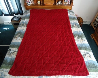 Claret Hand Knitted Diagonals and Triangles Afghan, Blanket, Throw - Home Decor