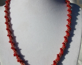 Bead Crochet Necklace, Poinsettia, (brick) French red copper gold, Winter Necklace, Christmas Jewelry, Holiday Gift Idea