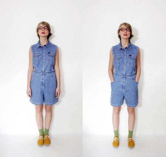 Vintage romper / 90s blue denim jumpsuit /size M