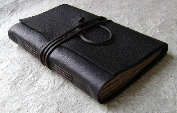 Leather Journal (slim), Black with dark brown tie closure, handmade rustic journal by Dancing Grey Studio on Etsy