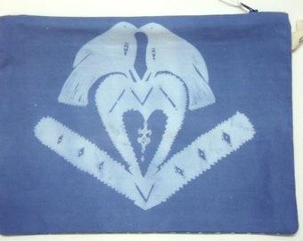 SALE *  Blue Cotton Love Birds Screenprinted Washbag Purse Pouch