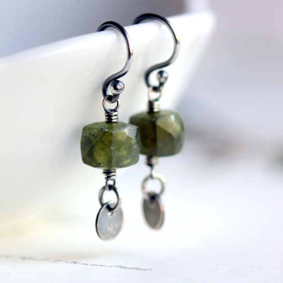 Forest Green Earrings Moss Vesuvianite and Sterling Silver Charm Earrings - Sorcerer's Stone Woodland Fashion