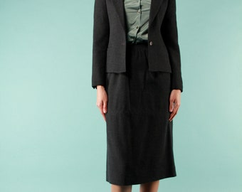 Vintage 1970s Slate Grey Charcoal Wool Set Fitted Jacket High Waist Gathered Pencil Skirt Business