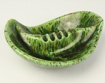 Vintage 1970s Mid Century Modern Ceramic Ashtray Atomic Mod Decor Leaf Shape Psychedelic Glaze