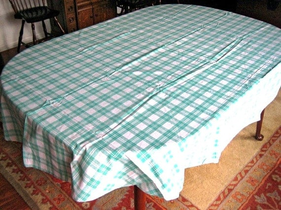 Retro Vintage NEW TABLECLOTH Oval White Aqua Teal Green Kitchen Picnic Check NIP
