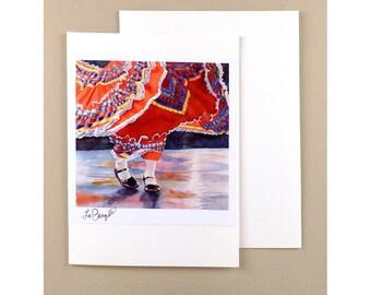 Dance Note Cards Dancing Paper Goods Mexican Dancer Ephemera Fine Art Watercolor Painting Dance Art Costume Art Mexico WatercolorByMuren