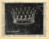 Star Print - Vintage Book Art - Crown of Stars - Upcycled Antique Book Print - Constellations Night Sky Art - Outer Space