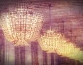 "Mysterious Chandelier Photograph ""There's a Light"" Dreamy Elegant European Palace Paris Photo Print"