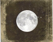 "Vintage Full Moon Photo ""Blue Moon"" Ethereal Night Sky Stars Photograph Print - Fine Art Gothic Antique Victorian Photo - missquitecontrary"