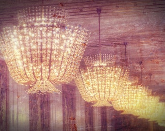 "Mysterious Chandelier Photograph ""There's a Light"" Dreamy Elegant European Palace Paris Photo Print"