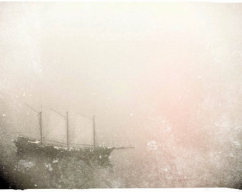 "Dreamy Pirate Ship Photo ""Ghost Ship"" Fine Art Nautical Photograph - Surreal Ocean Boat - Foggy Sea Sky - Grey Pastel Muted Pink"