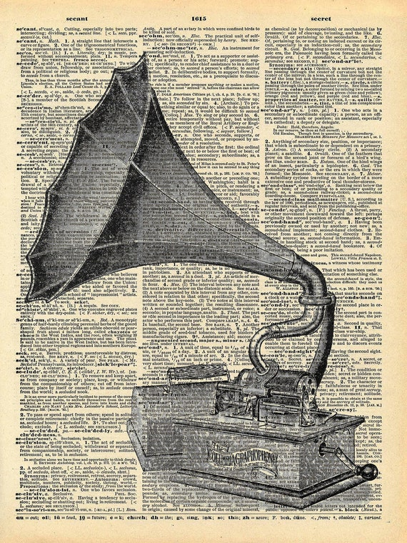 Antique Gramophone Book Art Print - Victorian Steampunk Art - Vintage Record Player - Music Decor - Old Book Print