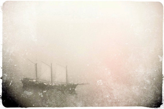 """Dreamy Pirate Ship Photo """"Ghost Ship"""" Fine Art Nautical Photograph - Surreal Ocean Boat - Foggy Sea Sky - Grey Pastel Muted Pink"""