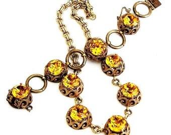 Beautiful Honey Topaz Necklace and Bracelet Set