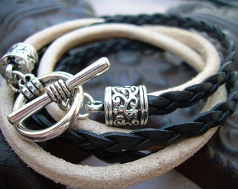 Natural and Black Braid Double Wrap Leather Bracelet, Mens Bracelet, Womens Bracelet, Leather Bracelet, Mens Jewelry, Womens Jewelry,