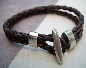 Leather Bracelet with Toggle Clasp, Natural Antique Brown Braided, Leather Bracelet, Mens Bracelet, Mens Jewelry