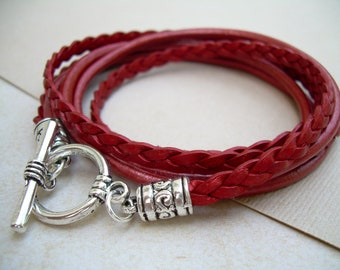 Triple Wrap Leather Bracelet with Toggle Clasp, Metallic Red,Leather Bracelet,  Womens Bracelet, Womens Jewelry