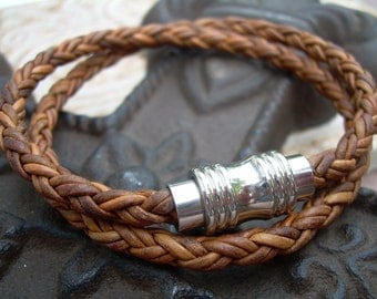 Mens Leather Bracelet, Double Wrap, Natural Light brown Braided, with Stainless Steel Magnetic Clasp