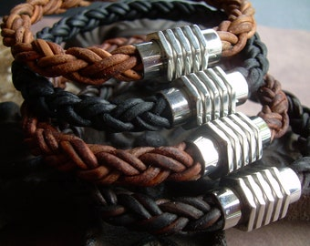 Mens Thick Braided Leather Bracelet with a Large Stainless Steel Magnetic Clasp, Mens Jewelry, Leather Bracelet, Mens Bracelet