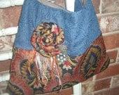Denim and Tapestry Shoulder Bag/Purse - Rosette - Embellished - ooak