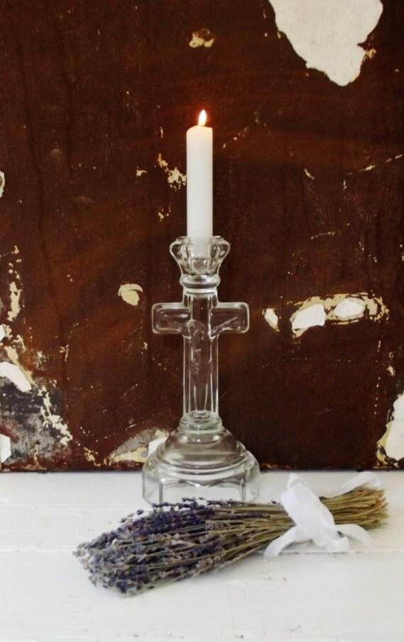 Vintage Glass Crucifix Candlestick