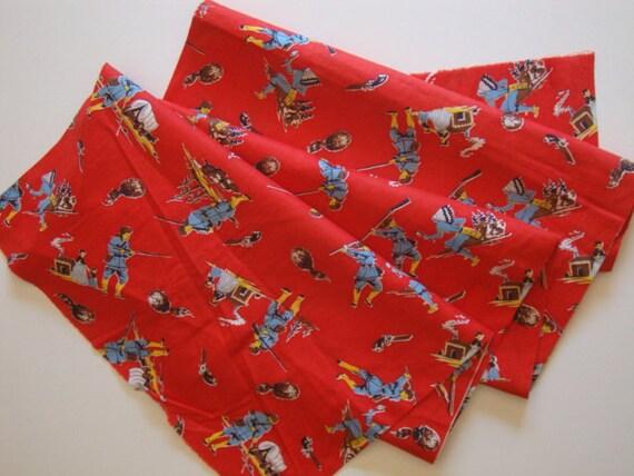 Vintage Davy Crockett Fabric - Rustic Frontiersman Design - 1 1/2 yards