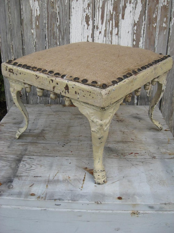 Antique handmade STOOL with BURLAP seat and original CHIPPY ivory paint