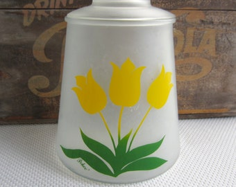 Vintage Yellow Tulip Frosted Glass Canister Cookie Jar signed Pokee