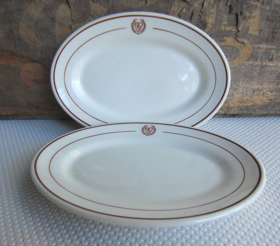 Vintage Hotel Restaurant China Maroon Crest by Iroquois China Small Oval Dishes