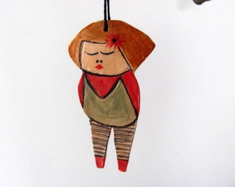 Anna dolls--Ceramic Marionette---Holiday gift-can be hung on the wall. or from the ceiling-red green.