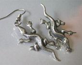Silver Lizard Earrings Salamander Reptilian Animal Dangle Earrings Southwestern Style Design Silver Lizard Dangle