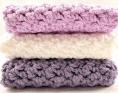 Purple Washcloths, Crochet Washcloths, Cotton Facecloths, Crochet Facecloths, White Washcloths,