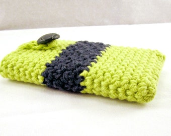 Navy Phone Case, Green Phone Cover, Crochet Phone Case, cell phone case, cell phone cover, ipod case, Buttoned case