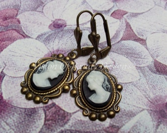 Black and White Cameo Earrings Victorian Cameo Earrings Clip On Earrings VisionOfBeautyDesign