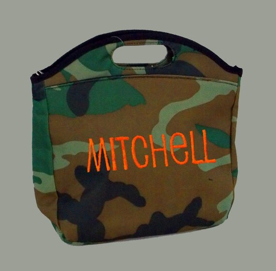 Personalized Insulated Lunch Bag In Camo Brown Black Green-Monogramming Included