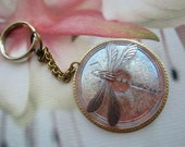 Dragonfly  Key Chain Shimmery Rose Peach On Filigree Setting