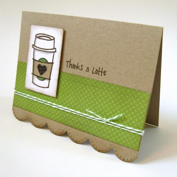 Thank You Card - Coffee Gift Basket Filler - Thanks a Latte Card