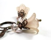 Flower Earrings, Champagne, Copper, Swarovski