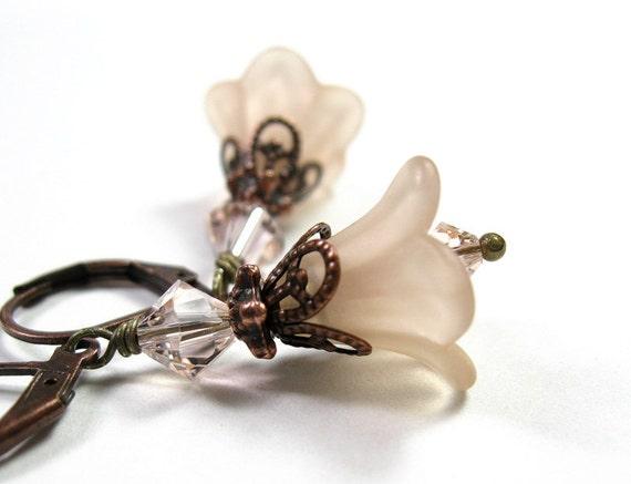 Flower Earrings, Champagne, Copper, Swarovski