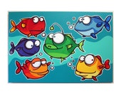 A bUNcH oF FiSHEs - 24x36 original acrylic painting on canvas- fish art, fish painting, fish room decor for kids