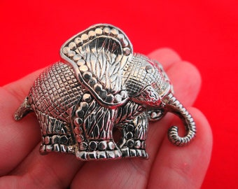 "Vintage silver tone 2"" elephant brooch in great condition-heavy and high end construction"